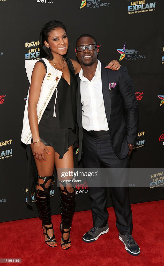 Actor/comedian Kevin Hart and Eniko Parrish attend Movie Premiere 'Let Me Explain' with Kevin Hart during the 2013 BET Experience at Regal Cinemas L.A. Live on June 27, 2013 in Los Angeles, California.