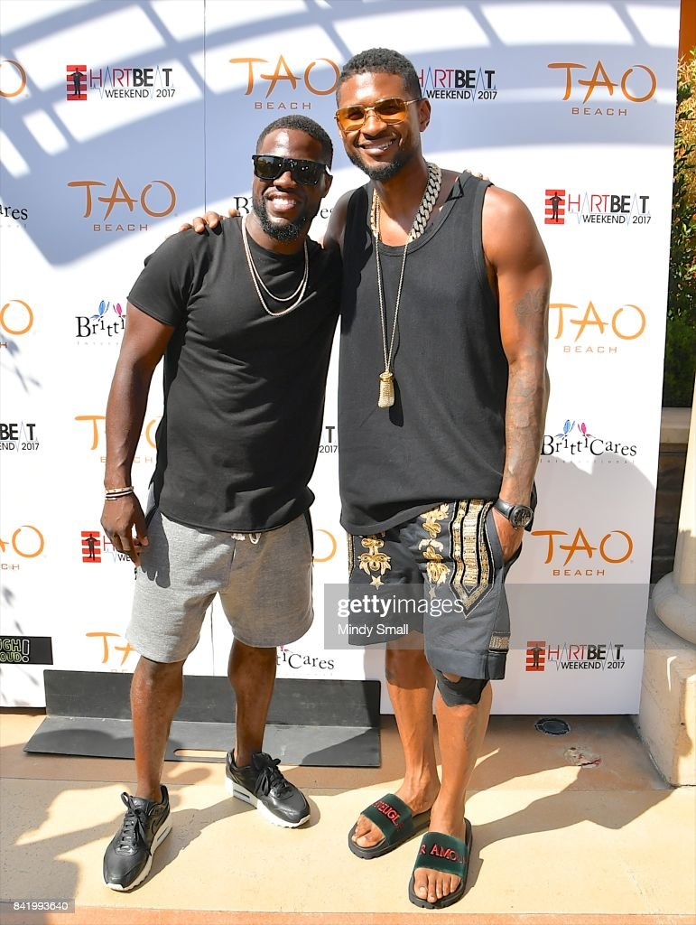 Actor/comedian Kevin Hart (L) and recording artist Usher attend the HartBeat weekend pool party at Tao Beach at The Venetian Las Vegas on September 2, 2017 in Las Vegas, Nevada.