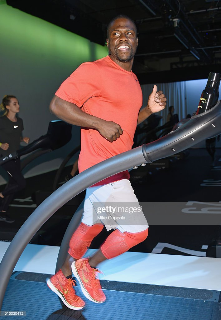 Actor/comedian Kevin Hart runs on a treadmill durning the Nike Live Training And Running Experience at Skylight at Clarkson Sq on March 16 2016 in...
