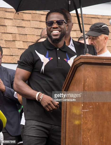 Actor/comedian Kevin Hart speaks as the city of Philadelphia celebrates Kevin Hart Day with a birthday celebration and mural dedication by Mural Arts...