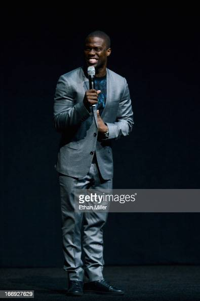 Actor/comedian Kevin Hart speaks during a Lionsgate Motion Picture Group presentation to promote the upcoming film 'Let Me Explain' at The Colosseum...