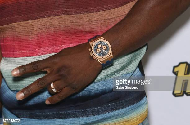 Actor/comedian Kevin Hart watch ring detail arrives at the Rehab Beach Club pool party grand opening weekend at the Hard Rock Hotel Casino on April...