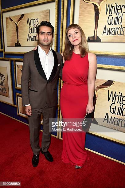 Actor/comedian Kumail Nanjiani and producer Emily V Gordon attend the 2016 Writers Guild Awards at the Hyatt Regency Century Plaza on February 13...
