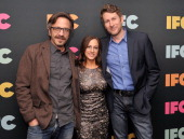 Actor/comedian Mark Maron IFC President and GM Jennifer Caserta and actor/comedian Scott Aukerman attend the 2014 IFC Upfront at Roseland Ballroom on...