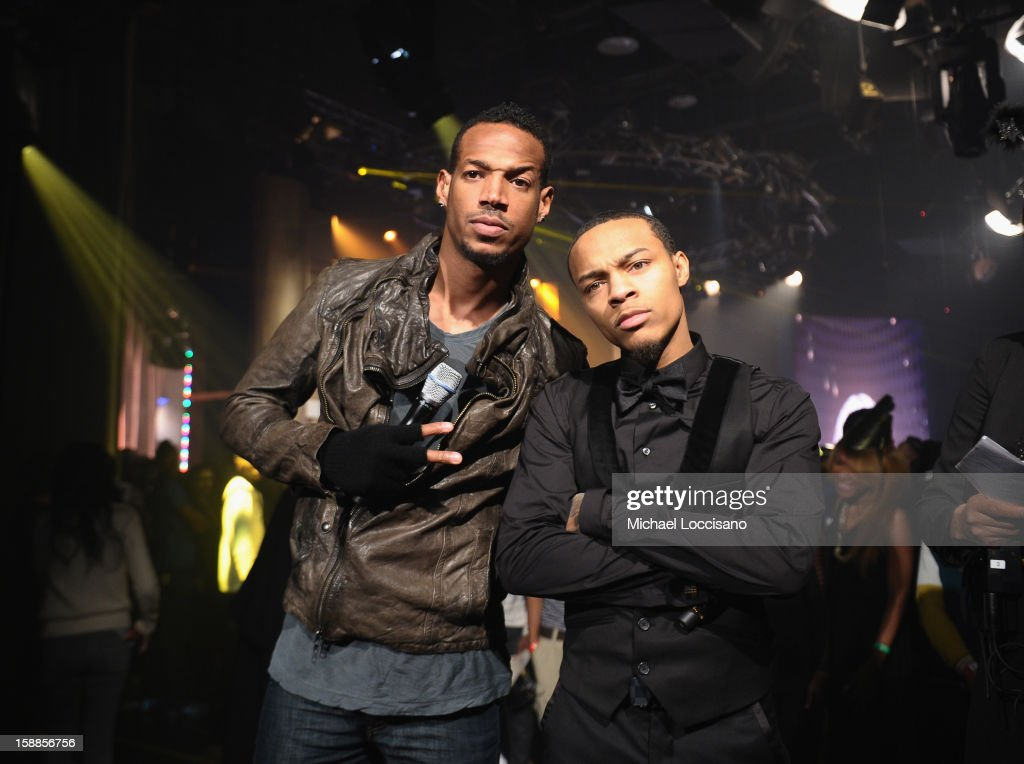 Actor/Comedian <a gi-track='captionPersonalityLinkClicked' href=/galleries/search?phrase=Marlon+Wayans&family=editorial&specificpeople=203226 ng-click='$event.stopPropagation()'>Marlon Wayans</a> (L) and Rapper <a gi-track='captionPersonalityLinkClicked' href=/galleries/search?phrase=Bow+Wow+-+Rapper&family=editorial&specificpeople=211211 ng-click='$event.stopPropagation()'>Bow Wow</a> host BET's 106 And Park 2013 New Years Eve Party at BET Studios on December 17, 2012 in New York City.