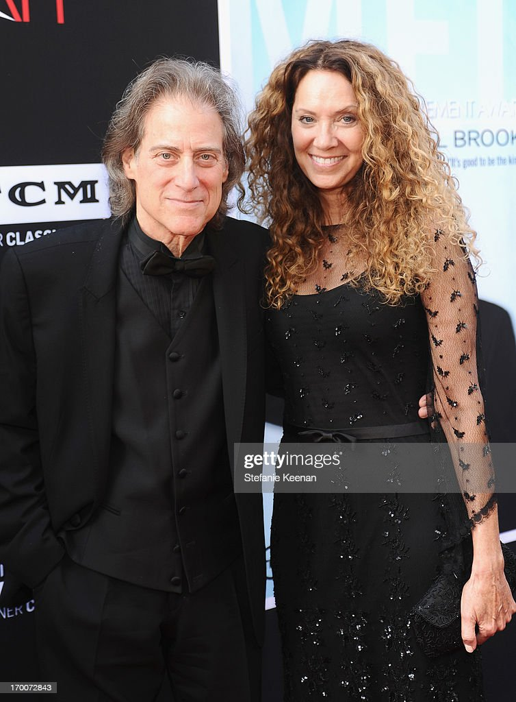 Actor/comedian <a gi-track='captionPersonalityLinkClicked' href=/galleries/search?phrase=Richard+Lewis&family=editorial&specificpeople=213264 ng-click='$event.stopPropagation()'>Richard Lewis</a> and producer Joyce Lapinsky attend AFI's 41st Life Achievement Award Tribute to Mel Brooks at Dolby Theatre on June 6, 2013 in Hollywood, California. 23647_003_SK_0219.JPG