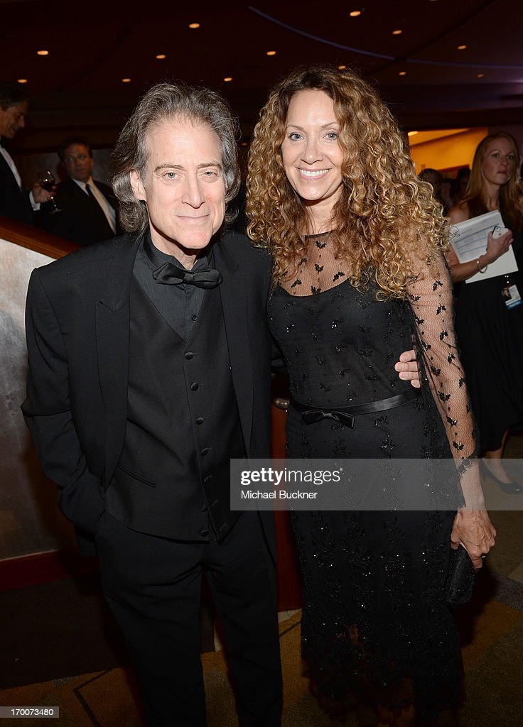 Actor/comedian <a gi-track='captionPersonalityLinkClicked' href=/galleries/search?phrase=Richard+Lewis&family=editorial&specificpeople=213264 ng-click='$event.stopPropagation()'>Richard Lewis</a> (L) and producer Joyce Lapinsky attend AFI's 41st Life Achievement Award Tribute to Mel Brooks at Dolby Theatre on June 6, 2013 in Hollywood, California. 23647_002_MB_0819.JPG
