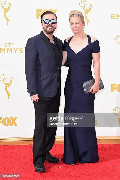 Actor/comedian Ricky Gervais and Jane Fallon attend the 67th Annual Primetime Emmy Awards at Microsoft Theater on September 20 2015 in Los Angeles...