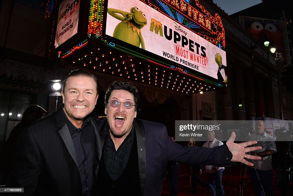 Actor/Comedian <a gi-track='captionPersonalityLinkClicked' href=/galleries/search?phrase=Ricky+Gervais&family=editorial&specificpeople=209237 ng-click='$event.stopPropagation()'>Ricky Gervais</a> (L) and puppeteer Bill Barretta arrive for the premiere of Disney's 'Muppets Most Wanted' at the El Capitan Theatre on March 11, 2014 in Hollywood, California.