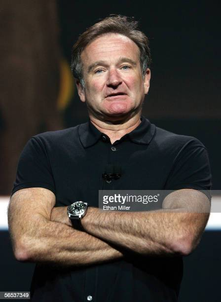 Actor/comedian Robin Williams appears during Google cofounder Larry Page's keynote address at the International Consumer Electronics Show January 6...