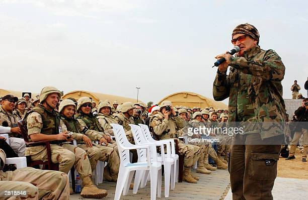 Actor/comedian Robin Williams entertains the troops during the United Service Organizations tour at Baghdad International Airport on December 16 2003