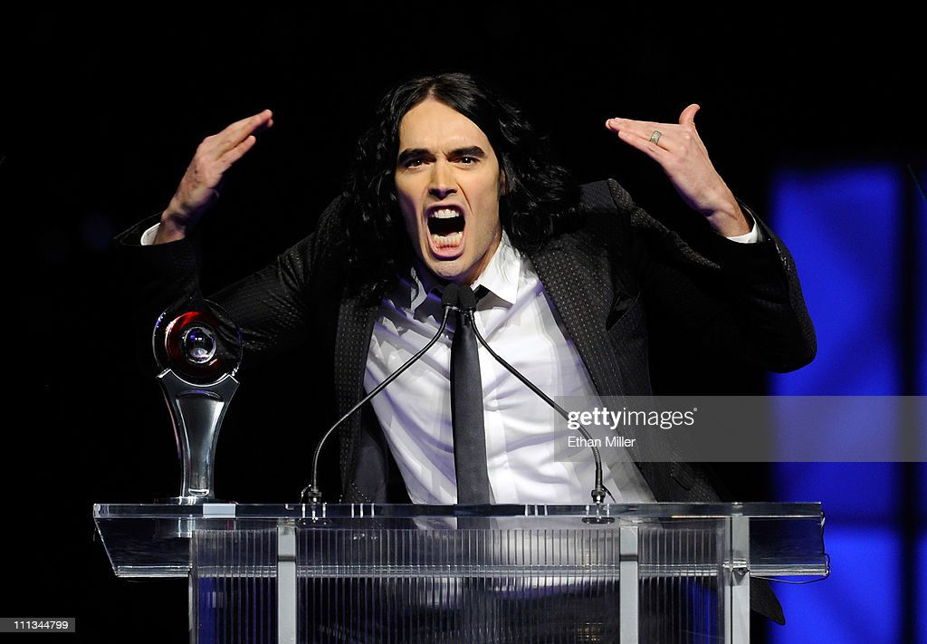 Actor/comedian Russell Brand accepts the Comedy Star of the Year award at the CinemaCon awards ceremony at The Colosseum at Caesars Palace during CinemaCon, the official convention of the National Association of Theatre Owners, March 31, 2011 in Las Vegas, Nevada.