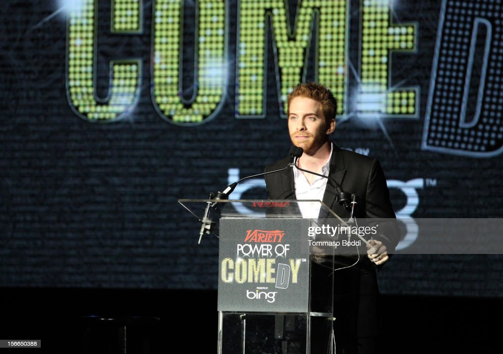 Actor/comedian <a gi-track='captionPersonalityLinkClicked' href=/galleries/search?phrase=Seth+Green&family=editorial&specificpeople=206390 ng-click='$event.stopPropagation()'>Seth Green</a> speaks onstage at Variety's 3rd annual Power of Comedy event presented by Bing benefiting the Noreen Fraser Foundation held at Avalon on November 17, 2012 in Hollywood, California.