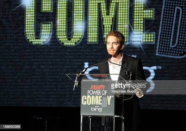 Actor/comedian Seth Green speaks onstage at Variety's 3rd annual Power of Comedy event presented by Bing benefiting the Noreen Fraser Foundation held...