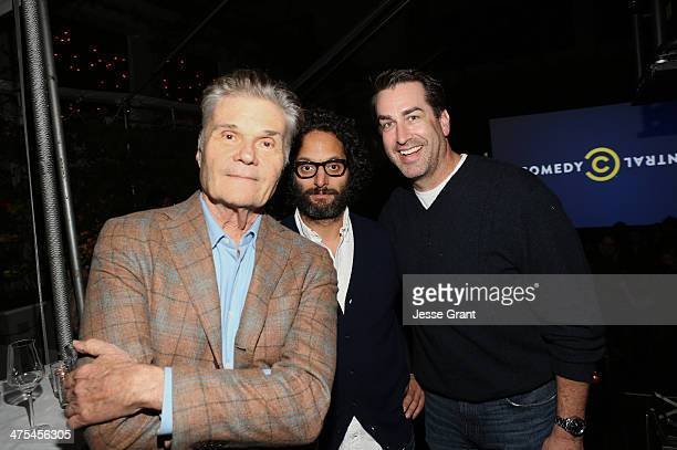 Actor/comedians Fred Willard Jason Mantzoukas and Rob Riggle attend Comedy Central's 'Review' Premiere Party at SkyBar at the Mondrian Los Angeles on...