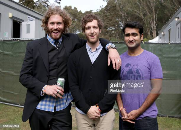 Actor/comedians TJ Miller Thomas Middleditch and Kumail Nanjiani pose backstage at The Barbary Stage during day 3 of the 2014 Outside Lands Music and...