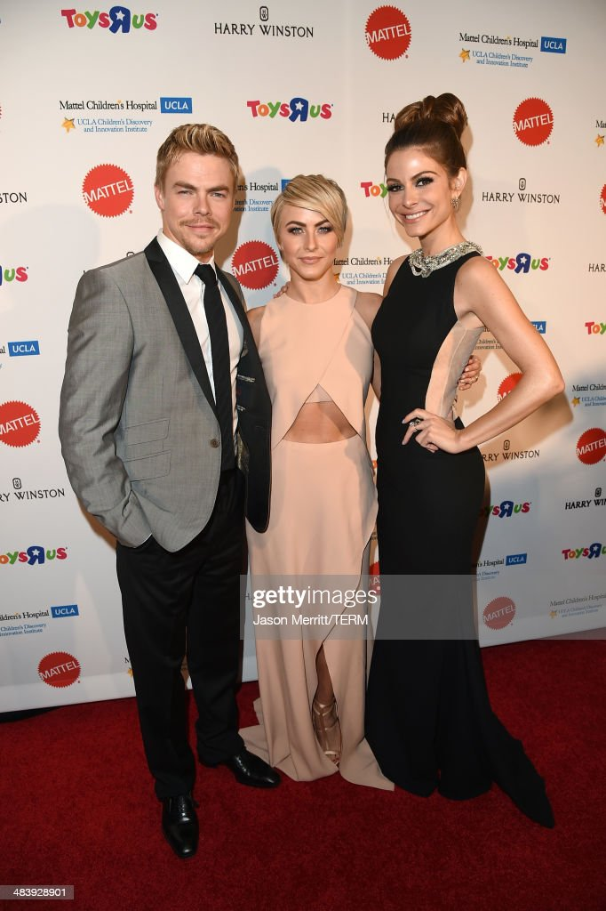 Actor/Dancer <a gi-track='captionPersonalityLinkClicked' href=/galleries/search?phrase=Derek+Hough&family=editorial&specificpeople=4532214 ng-click='$event.stopPropagation()'>Derek Hough</a>, actress <a gi-track='captionPersonalityLinkClicked' href=/galleries/search?phrase=Julianne+Hough&family=editorial&specificpeople=4237560 ng-click='$event.stopPropagation()'>Julianne Hough</a> and television personality/actress <a gi-track='captionPersonalityLinkClicked' href=/galleries/search?phrase=Maria+Menounos&family=editorial&specificpeople=203337 ng-click='$event.stopPropagation()'>Maria Menounos</a> attend The Kaleidoscope Ball – Designing the Sweet Side of L.A. benefiting the UCLA Children's Discovery and Innovation Institute at Mattel Children's Hospital UCLA held at Beverly Hills Hotel on April 10, 2014 in Beverly Hills, California.