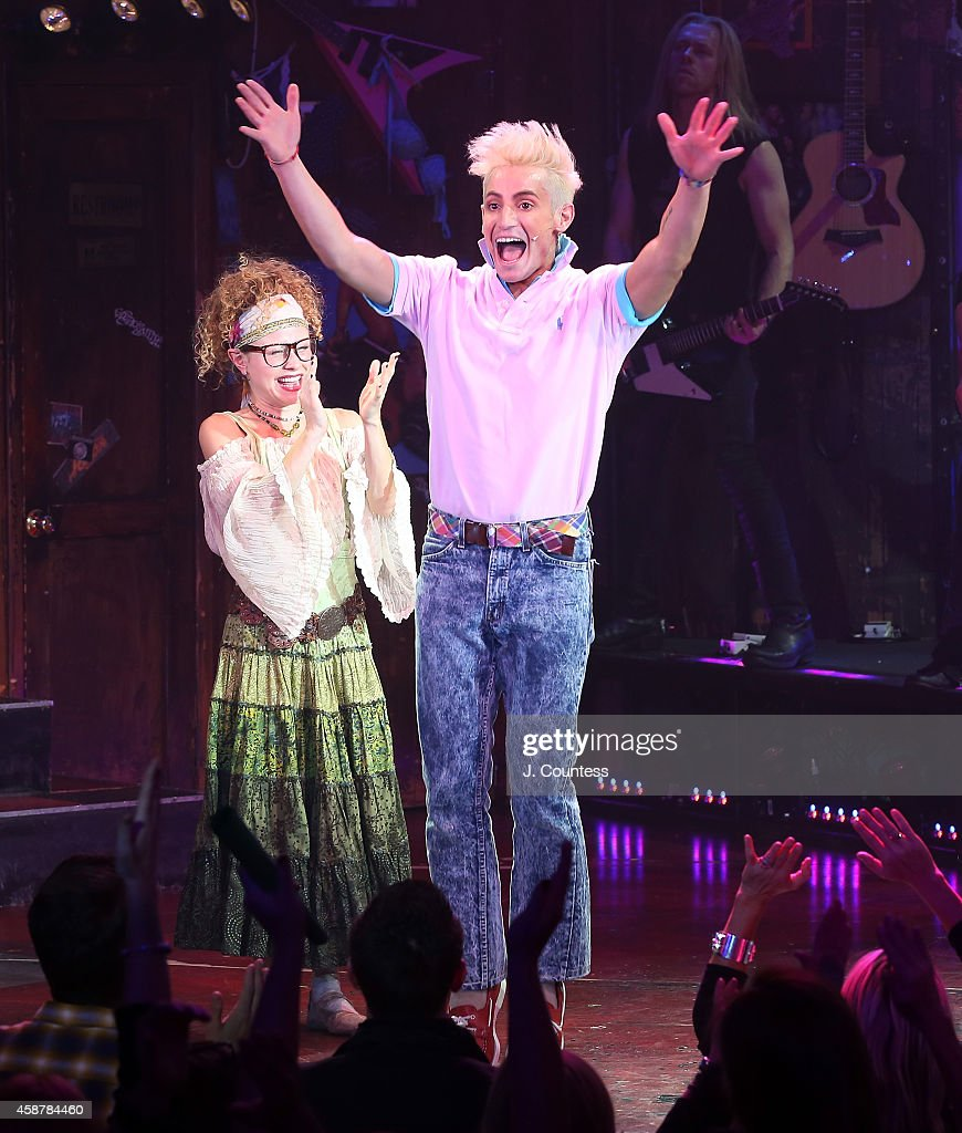 Actor/dancer Frankie J Grande takes a bow during the curtain call for his debut performance in the Broadway production of 'Rock Of Ages' at Helen...