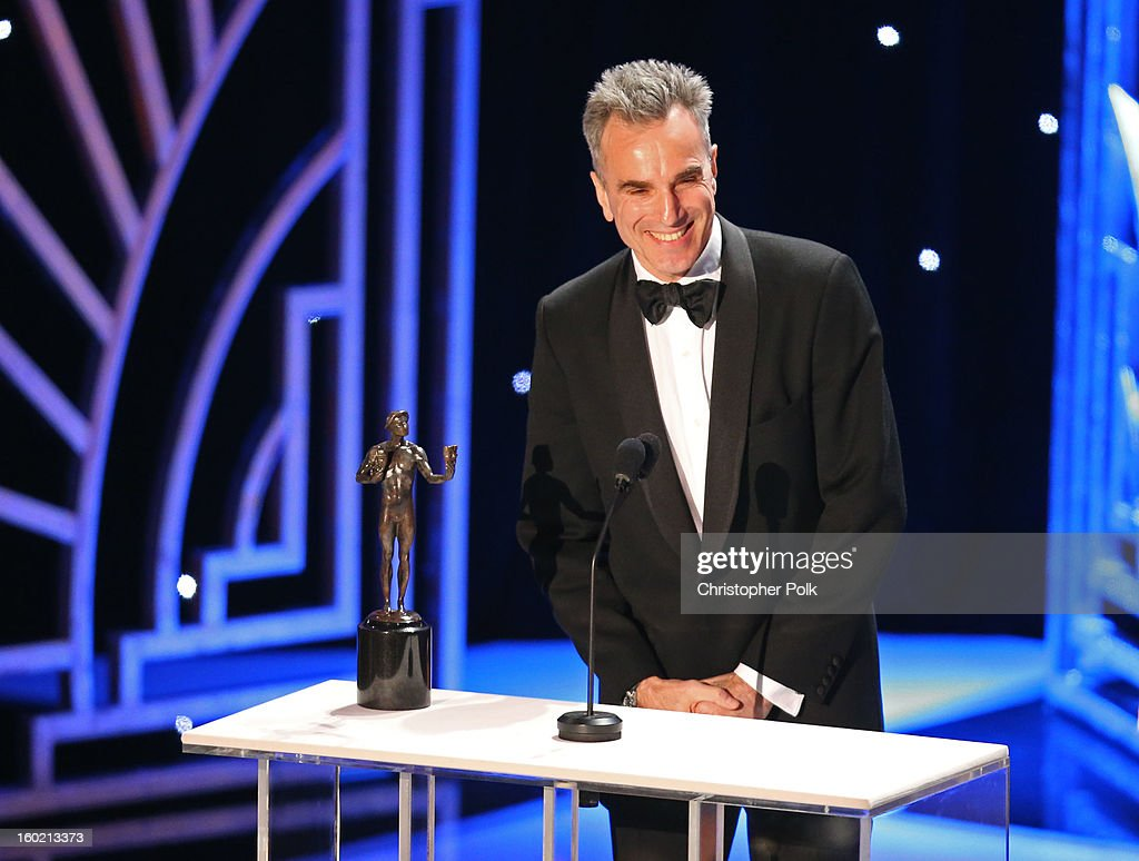 ActorDaniel Day Lewis accepts the award for Outstanding Performance by a Male Actor in a Leading Role onstage during the 19th Annual Screen Actors Guild Awards at The Shrine Auditorium on January 27, 2013 in Los Angeles, California. (Photo by Christopher Polk/WireImage) 23116_012_2701.jpg