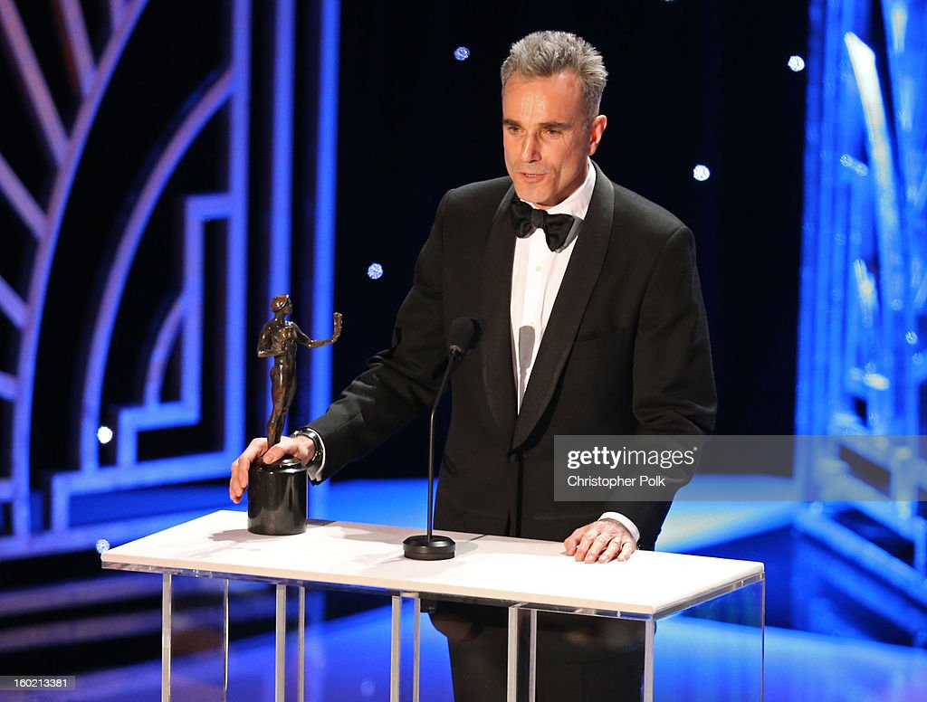 ActorDaniel Day Lewis accepts the award for Outstanding Performance by a Male Actor in a Leading Role onstage during the 19th Annual Screen Actors Guild Awards at The Shrine Auditorium on January 27, 2013 in Los Angeles, California. (Photo by Christopher Polk/WireImage) 23116_012_2072.jpg