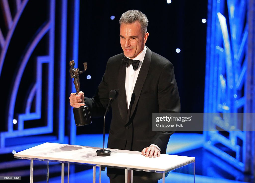 ActorDaniel Day Lewis accepts the award for Outstanding Performance by a Male Actor in a Leading Role onstage during the 19th Annual Screen Actors Guild Awards at The Shrine Auditorium on January 27, 2013 in Los Angeles, California. (Photo by Christopher Polk/WireImage) 23116_012_2078.jpg