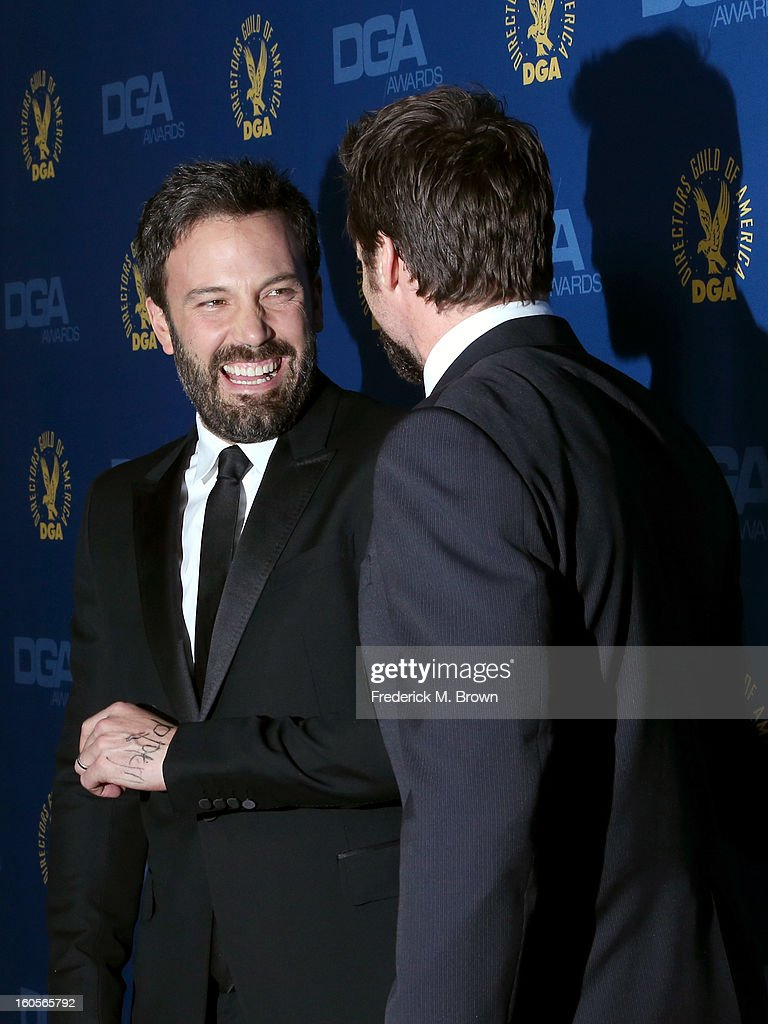 Actor/director <a gi-track='captionPersonalityLinkClicked' href=/galleries/search?phrase=Ben+Affleck&family=editorial&specificpeople=201856 ng-click='$event.stopPropagation()'>Ben Affleck</a> (L) and actor <a gi-track='captionPersonalityLinkClicked' href=/galleries/search?phrase=Hugh+Jackman&family=editorial&specificpeople=202499 ng-click='$event.stopPropagation()'>Hugh Jackman</a> attend the 65th Annual Directors Guild Of America Awards at Ray Dolby Ballroom at Hollywood & Highland on February 2, 2013 in Los Angeles, California.