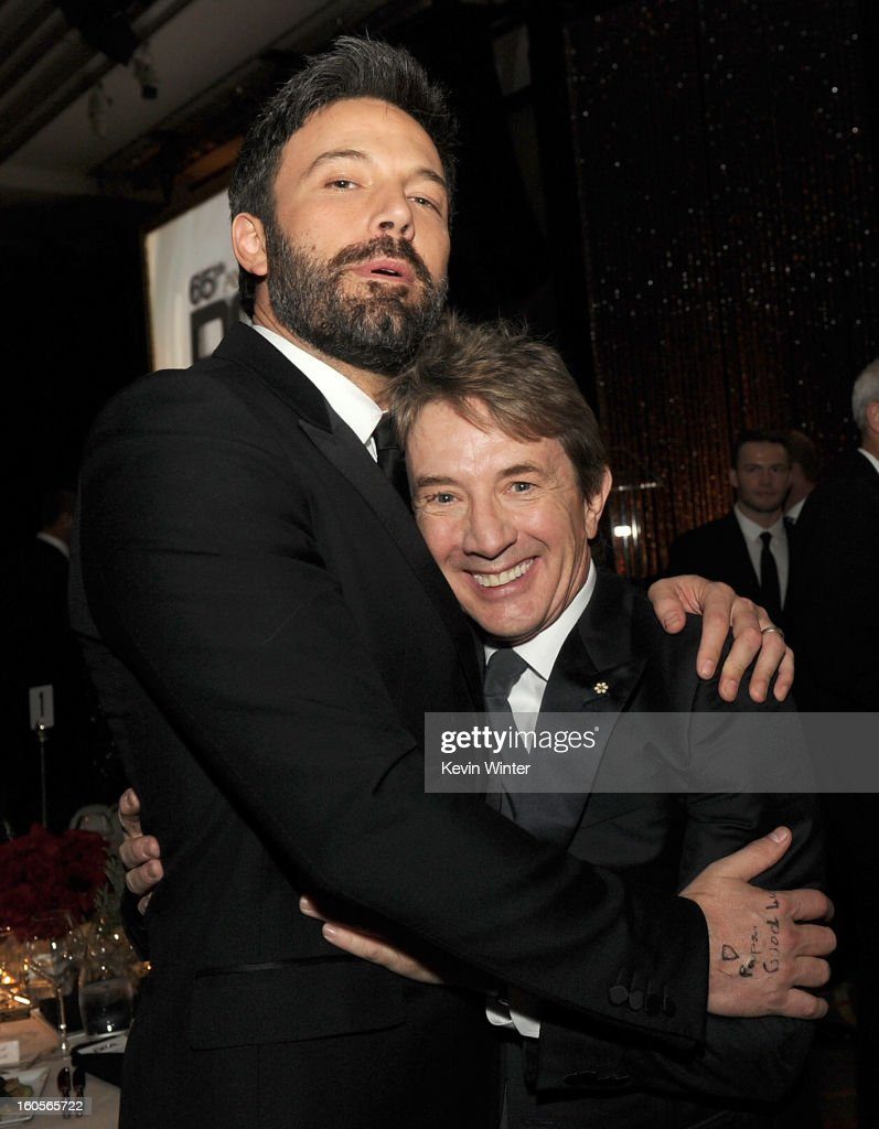 Actor-director <a gi-track='captionPersonalityLinkClicked' href=/galleries/search?phrase=Ben+Affleck&family=editorial&specificpeople=201856 ng-click='$event.stopPropagation()'>Ben Affleck</a> (L) and actor <a gi-track='captionPersonalityLinkClicked' href=/galleries/search?phrase=Martin+Short&family=editorial&specificpeople=211569 ng-click='$event.stopPropagation()'>Martin Short</a> attend the 65th Annual Directors Guild Of America Awards at Ray Dolby Ballroom at Hollywood & Highland on February 2, 2013 in Los Angeles, California.