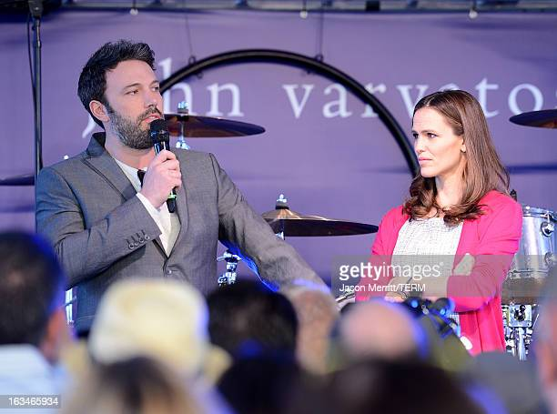 Actor/director Ben Affleck and actress Jennifer Garner speaks onstage at the John Varvatos 10th Annual Stuart House Benefit presented by Chrysler...
