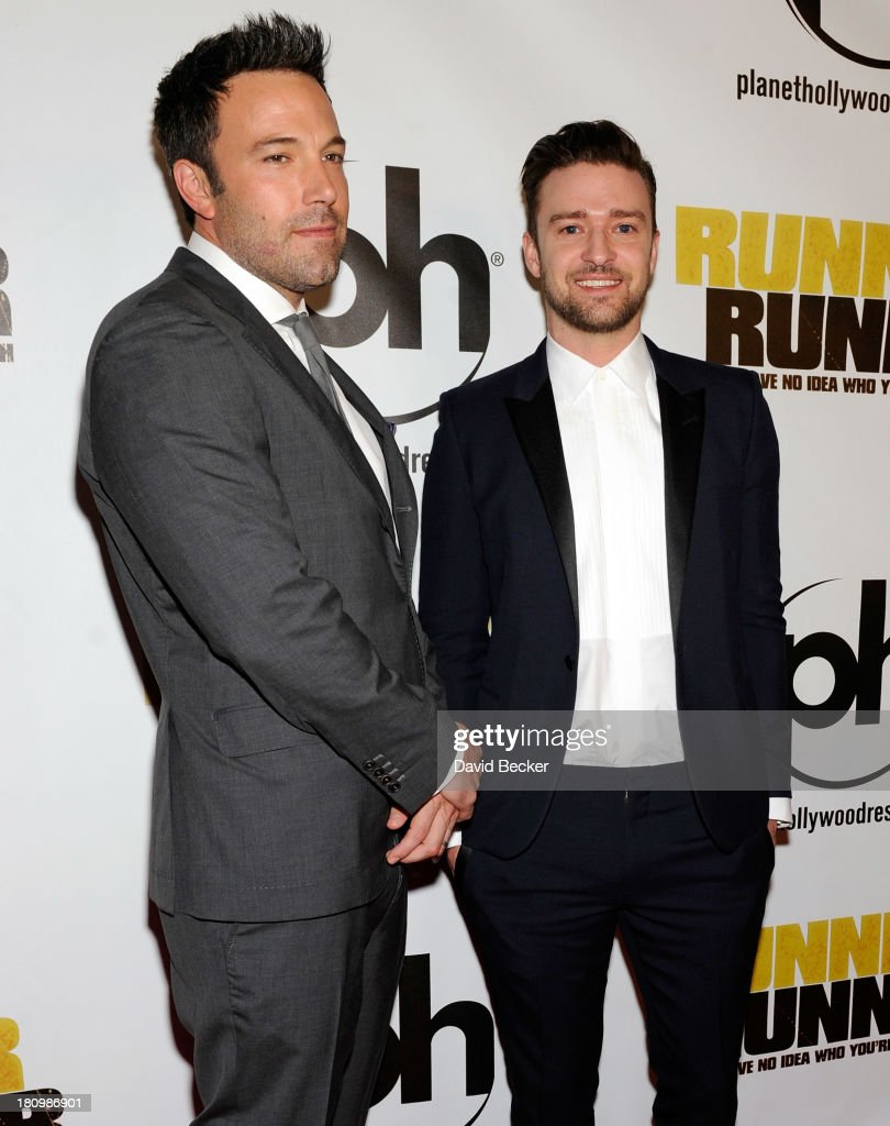 Actor/director <a gi-track='captionPersonalityLinkClicked' href=/galleries/search?phrase=Ben+Affleck&family=editorial&specificpeople=201856 ng-click='$event.stopPropagation()'>Ben Affleck</a> (L) and singer/actor <a gi-track='captionPersonalityLinkClicked' href=/galleries/search?phrase=Justin+Timberlake&family=editorial&specificpeople=157482 ng-click='$event.stopPropagation()'>Justin Timberlake</a> arrive at the world premiere of Twentieth Century Fox and New Regency's film 'Runner Runner' at Planet Hollywood Resort & Casino on September 18, 2013 in Las Vegas, Nevada.