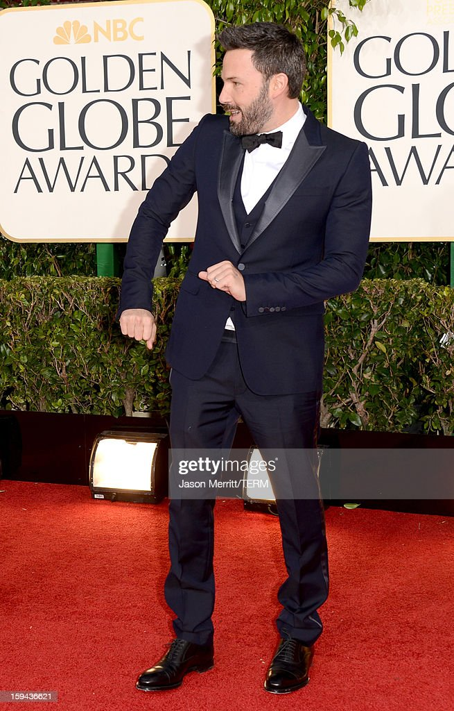 Actor-director <a gi-track='captionPersonalityLinkClicked' href=/galleries/search?phrase=Ben+Affleck&family=editorial&specificpeople=201856 ng-click='$event.stopPropagation()'>Ben Affleck</a> arrive at the 70th Annual Golden Globe Awards held at The Beverly Hilton Hotel on January 13, 2013 in Beverly Hills, California.