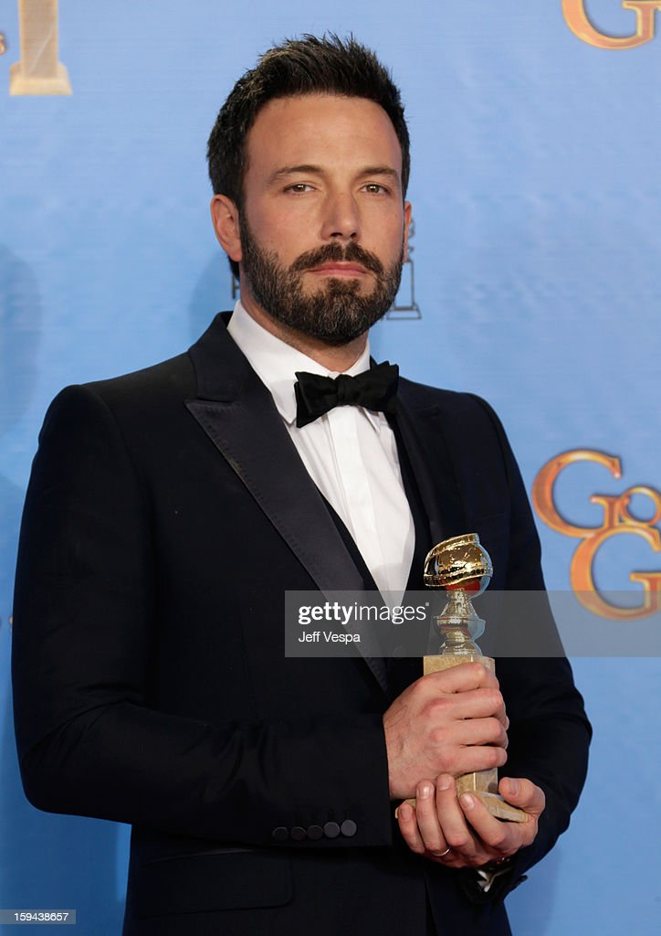 Actor-director <a gi-track='captionPersonalityLinkClicked' href=/galleries/search?phrase=Ben+Affleck&family=editorial&specificpeople=201856 ng-click='$event.stopPropagation()'>Ben Affleck</a> poses in the press room at the 70th Annual Golden Globe Awards held at The Beverly Hilton Hotel on January 13, 2013 in Beverly Hills, California.