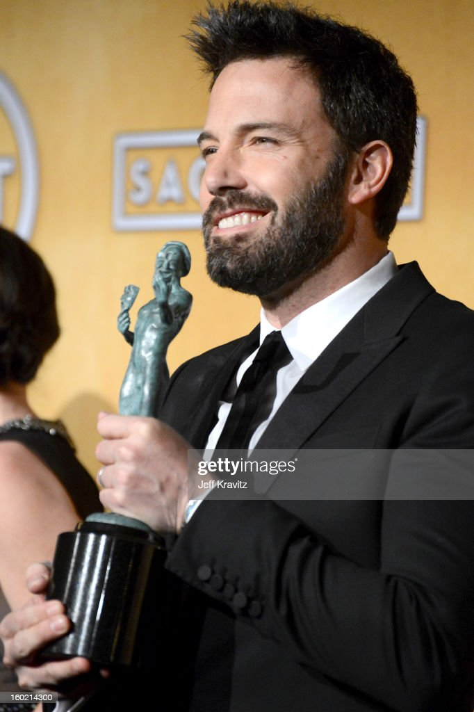 Actor/director <a gi-track='captionPersonalityLinkClicked' href=/galleries/search?phrase=Ben+Affleck&family=editorial&specificpeople=201856 ng-click='$event.stopPropagation()'>Ben Affleck</a> poses in the press room during the 19th Annual Screen Actors Guild Awards held at The Shrine Auditorium on January 27, 2013 in Los Angeles, California.