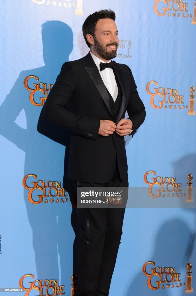 Actor/director Ben Affleck poses in the press room with his Best Director of a motion picture award for 'Argo' at the Golden Globes awards ceremony in Beverly Hills on January 13, 2013. AFP PHOTO/Robyn BECK