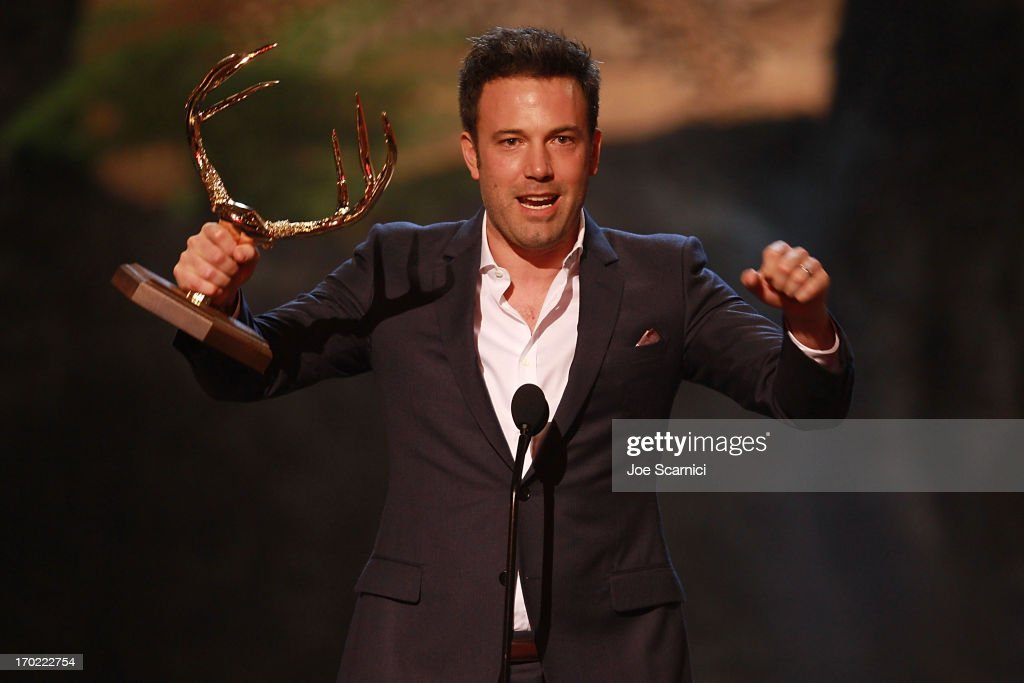 Actor/director <a gi-track='captionPersonalityLinkClicked' href=/galleries/search?phrase=Ben+Affleck&family=editorial&specificpeople=201856 ng-click='$event.stopPropagation()'>Ben Affleck</a> speaks on stage during 2013 Spike TV 'Guys Choice' - Show at Sony Pictures Studios on June 8, 2013 in Culver City, California.