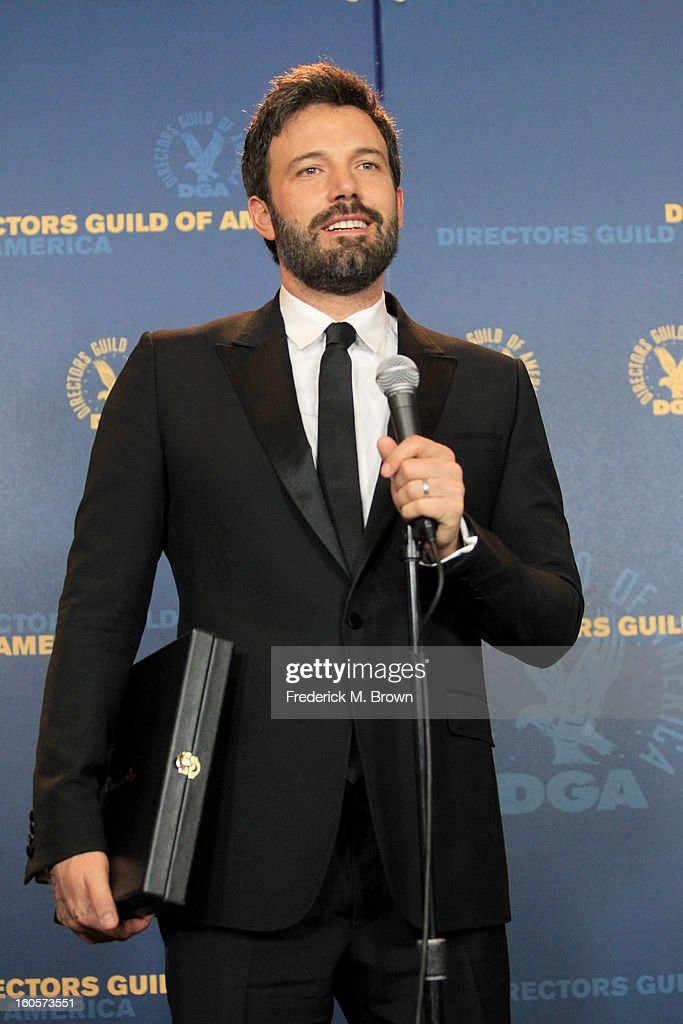 """Actor/director Ben Affleck, winner of the Outstanding Directorial Achievement in Feature Film for 2012 award for """"Argo,"""" poses in the press room during the 65th Annual Directors Guild Of America Awards at Ray Dolby Ballroom at Hollywood & Highland on February 2, 2013 in Los Angeles, California."""
