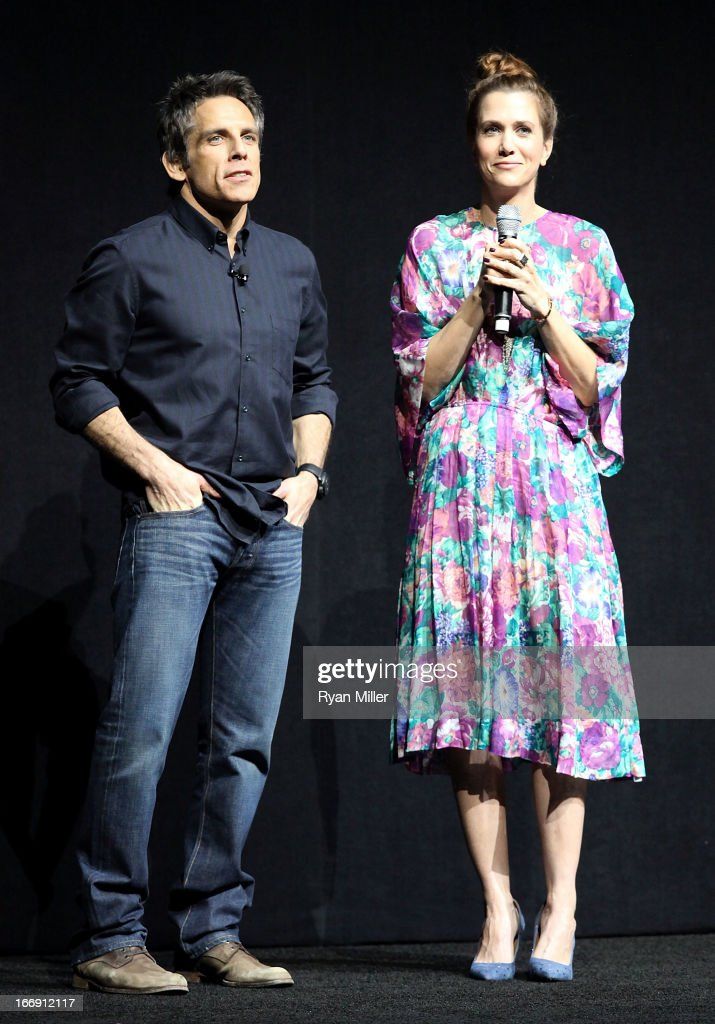 Actor/Director <a gi-track='captionPersonalityLinkClicked' href=/galleries/search?phrase=Ben+Stiller&family=editorial&specificpeople=201806 ng-click='$event.stopPropagation()'>Ben Stiller</a> (L) and Actress <a gi-track='captionPersonalityLinkClicked' href=/galleries/search?phrase=Kristen+Wiig&family=editorial&specificpeople=4029391 ng-click='$event.stopPropagation()'>Kristen Wiig</a> speak onstage during the 20th Century Fox Cinemacon Press Conference at Caesars Palace during CinemaCon, the official convention of the National Association of Theatre Owners on April 18, 2013 in Las Vegas, Nevada.