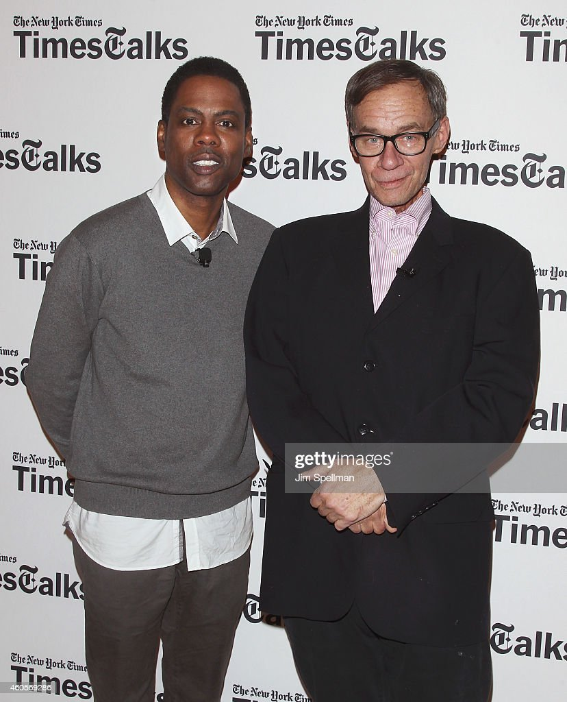 Actor/director Chris Rock and columnist David Carr attend a conversation at TheTimesCenter on December 16 2014 in New York City