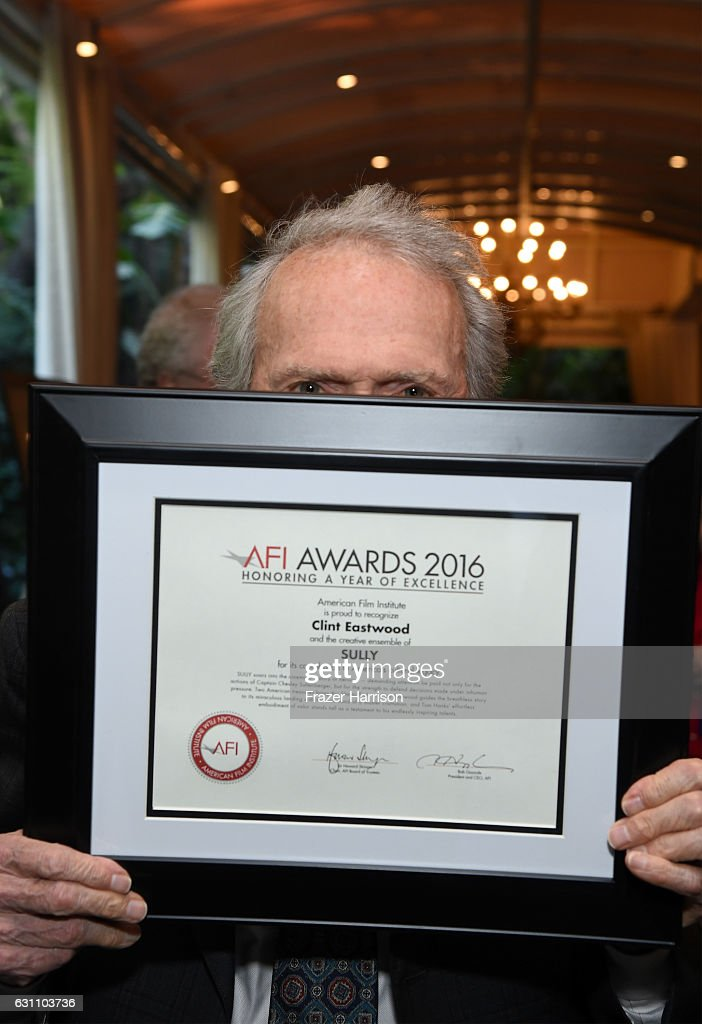 Actor/director Clint Eastwood poses with award during the 17th annual AFI Awards at Four Seasons Los Angeles at Beverly Hills on January 6, 2017 in Los Angeles, California.