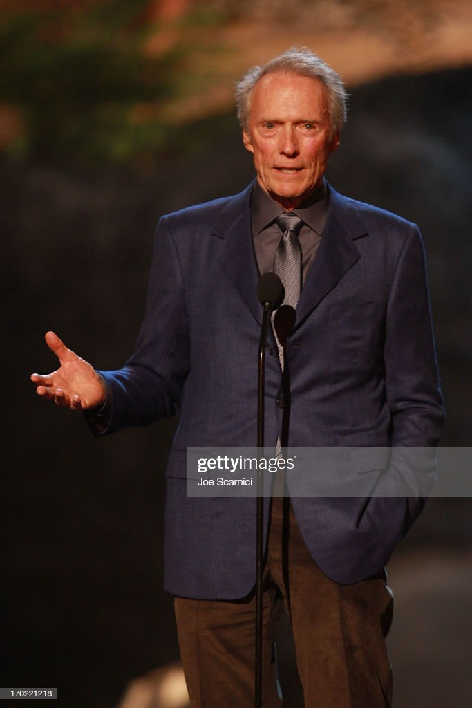Actor/director <a gi-track='captionPersonalityLinkClicked' href=/galleries/search?phrase=Clint+Eastwood&family=editorial&specificpeople=201795 ng-click='$event.stopPropagation()'>Clint Eastwood</a> speaks on stage during 2013 Spike TV 'Guys Choice' - Show at Sony Pictures Studios on June 8, 2013 in Culver City, California.