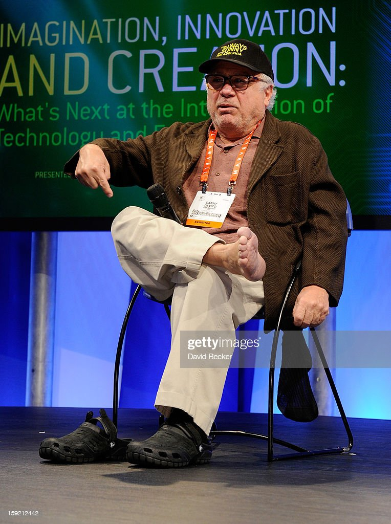 Actor/director <a gi-track='captionPersonalityLinkClicked' href=/galleries/search?phrase=Danny+DeVito&family=editorial&specificpeople=210718 ng-click='$event.stopPropagation()'>Danny DeVito</a> speaks at the Panasonic booth during the 2013 International CES at the Las Vegas Convention Center on January 9, 2013 in Las Vegas, Nevada. CES, the world's largest annual consumer technology trade show, runs through January 11 and is expected to feature 3,100 exhibitors showing off their latest products and services to about 150,000 attendees.