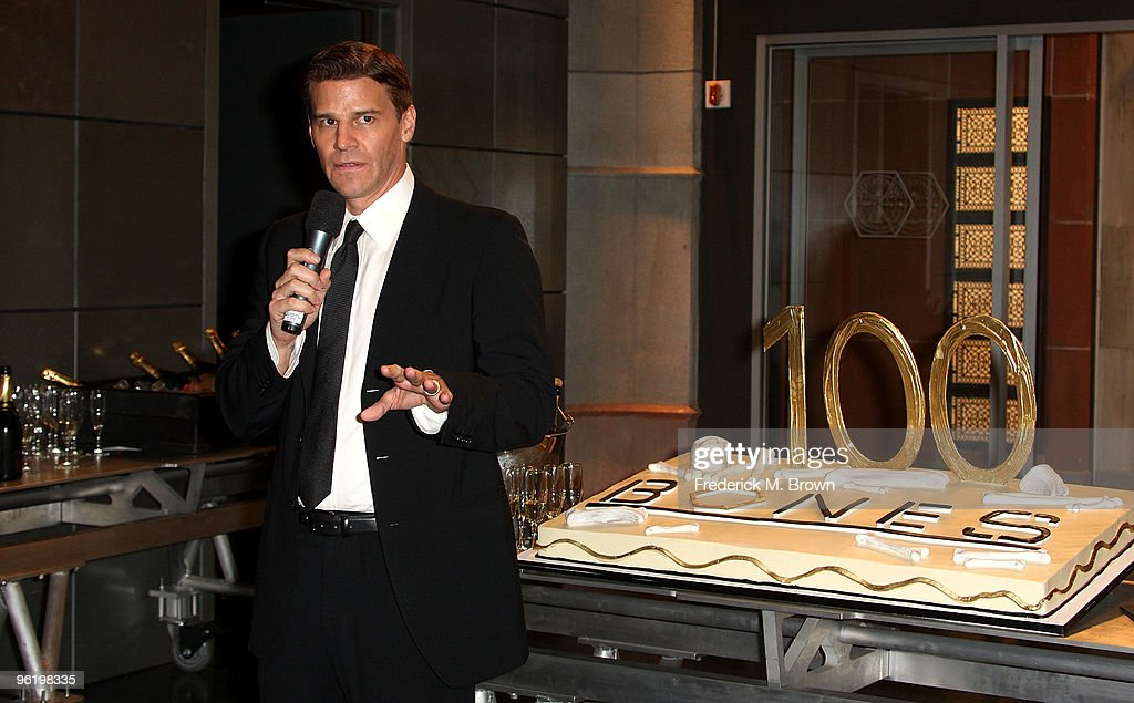 Actor/director David Boreanaz speaks during the 100th Episode celebration of the television show 'Bones' at Fox Studios on January 26, 2010 in Los Angeles, California.