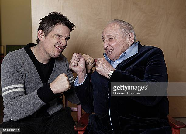Actor/director Ethan Hawke and pianist Seymour Bernstein are photographed for Boston Globe on February 27 2015 in New York City PUBLISHED IMAGE