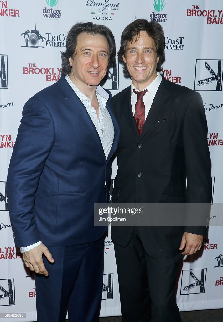 Actor/director Federico Castelluccio (L) and composer Tim Starnes attend the 'The Brooklyn Banker' New York premiere at SVA Theatre on August 2, 2016 in New York City.