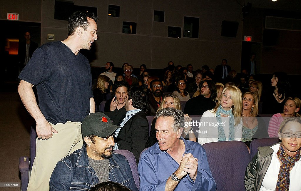 Actor/director Hank Azaria talks to people before a screening of 'Nobody's Perfect' at the Writers Guild February 19, 2004 in Los Angeles, California.