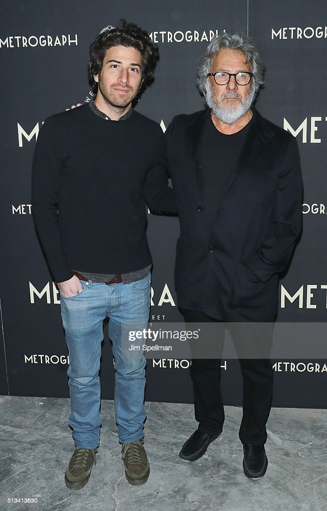 Actor/director <a gi-track='captionPersonalityLinkClicked' href=/galleries/search?phrase=Jake+Hoffman&family=editorial&specificpeople=565940 ng-click='$event.stopPropagation()'>Jake Hoffman</a> and actor <a gi-track='captionPersonalityLinkClicked' href=/galleries/search?phrase=Dustin+Hoffman&family=editorial&specificpeople=171356 ng-click='$event.stopPropagation()'>Dustin Hoffman</a> attend the Metrograph opening night at Metrograph on March 2, 2016 in New York City.