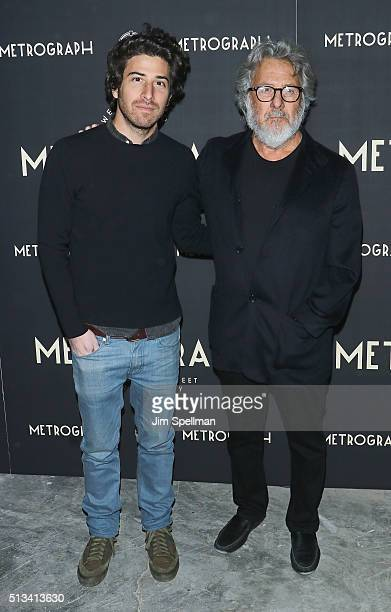 Actor/director Jake Hoffman and actor Dustin Hoffman attend the Metrograph opening night at Metrograph on March 2 2016 in New York City