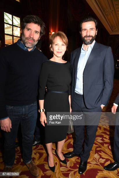 Actor/director Jalil Lespert actress Nathalie Baye and actor Gregory Fitoussi attend Chinese Business Club Lunch at Hotel Intercontinental on April...