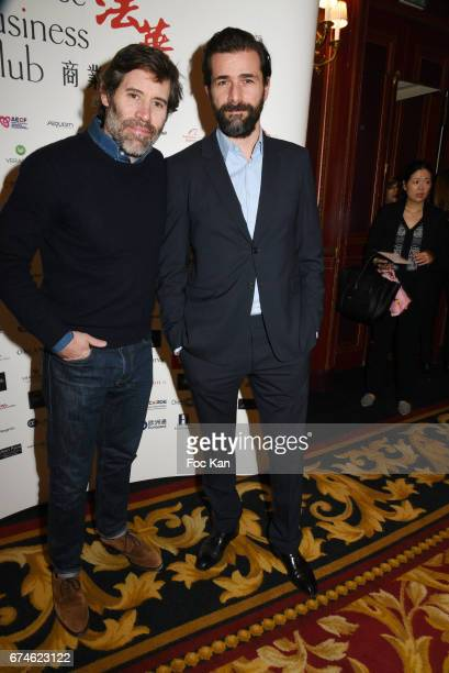 Actor/director Jalil Lespert and actor Gregory Fitoussi attend Chinese Business Club Lunch at Hotel Intercontinental on April 28 2017 in Paris France