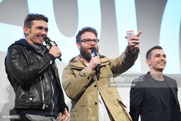 Actor/director James Franco actor/producer Seth Rogen and actor Dave Franco speak onstage during the 'The Disaster Artist' premiere 2017 SXSW...