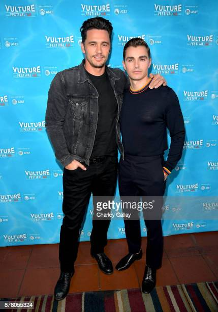 Actor/director James Franco and actor Dave Franco attend the 'Disaster Artist' panel during Vulture Festival LA Presented by ATT at Hollywood...
